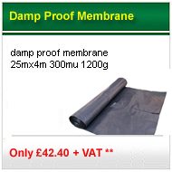 1200g 25mx4m damp proof membrane only £37.00 +VAT