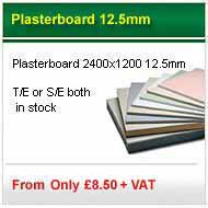 2400x1200x12.5mm standard plasterboard from only £5.16 per sheet +VAT