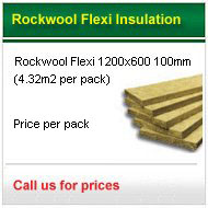 12pack 100mm rockwool flexi 1200x600 £241.20 +VAT