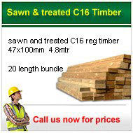 Sawn treated C16 Timber 20 lengths for only £160.00 + VAT